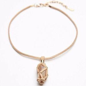 Free People Macrame Stone Pendant Choker Necklace